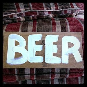 """Handmade Rustic Stained Wood Wedding 12"""" Beer Sign"""